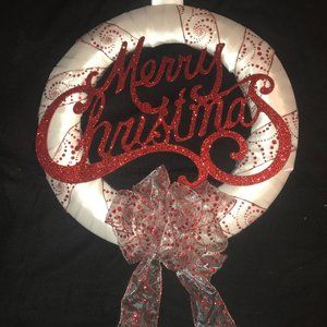 """White and red """"Merry Christmas"""" wreath New"""